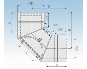 Bogen 90° mit Prüföffnung- 2250-BP90-113mm