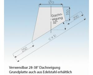 Dachdurchführung geneigt 32° mit Blei DGB32-113mm